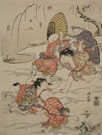 Torii Kiyonaga - Snowball Fight, by Torii Kiyonaga, from the series Children at Play in Twelve Months, 1787, woodblock print, Honolulu Museum of Art, accession 15966