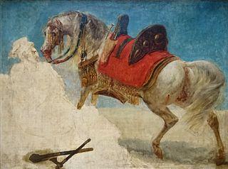 Étude de cheval arabe harnaché