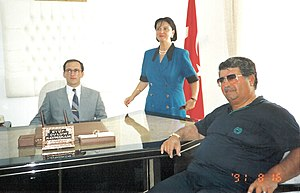 Kavaklıdere, Muğla - The ceremony marking of the beginning of governance for the first kaymakam Eyüp Sabri Kartal in Kavaklıdere with the late president Turgut Özal of Turkey and Vali Lale Aytaman