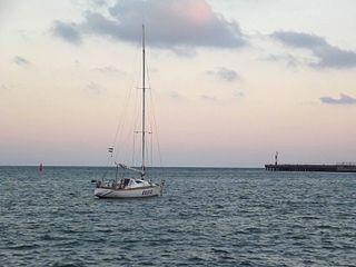 Вечер в Евпатории, яхта и закат