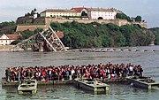 Скела на Дунаву током НАТО бомбардовања 1999 године