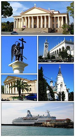 Views of Sochi, Top: Sochi Winter (Zimny) Theater, 2nd left: A monument of Mikhael archangel in Kurorthy Prospekt, 2nd right: Sochi Rail Station, 3rd left: Svobodny Perevlok Cinema, 3rd right: Cathedral of the Sochi Archangel Mikhael, Bottom: Sochi Port