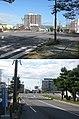 北海道道100号函館上磯線・松倉橋(2枚合成、上・起点側から見る、下・終点側から見る).jpg