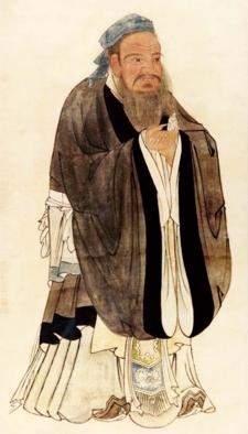 Afbildning af Konfucius, lavet af Qiu Ying (cirka 1494-1552).