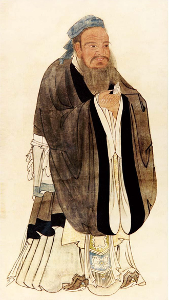 Confucius - A portrait of Confucius by the Ming dynasty artist Qiu Ying (c. 1494–1552)