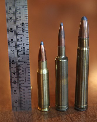 .257 Weatherby Magnum - Image: .257 Weatherby Magnum Cartridge with .308 Win and .375 H&H