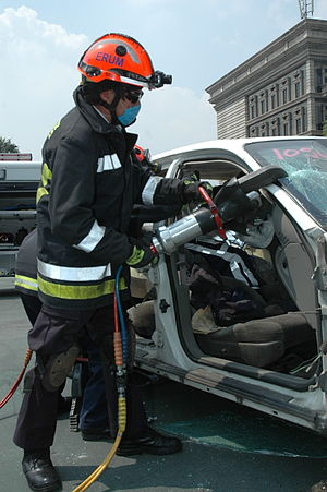 Hydraulic rescue tools - Hydraulic cutter in use during a demonstration at the Monterrey Institute of Technology and Higher Education, Mexico City.