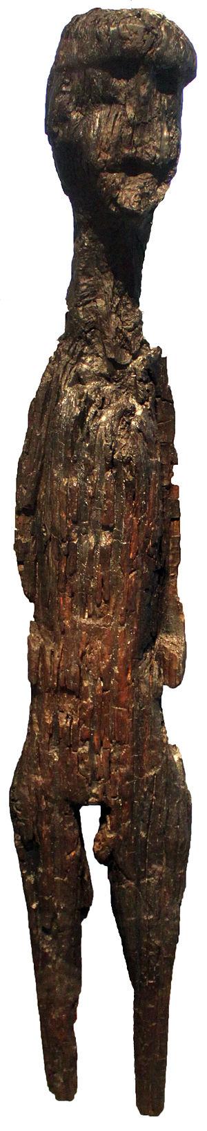 Anthropomorphic wooden cult figurines of Central and Northern Europe - Slavic figure of a god, c. 5th century CE, from Altfriesack, Fehrbellin, Brandenburg, Germany
