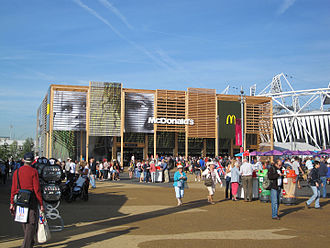Obesity in the United Kingdom - World's largest McDonald's outlet pictured outside the 2012 London Olympic Stadium
