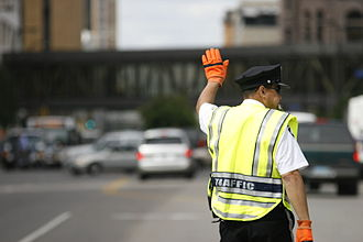 Traffic police - A Minneapolis Police Department Traffic Officer directing traffic in downtown Minneapolis. United States