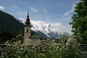 Argentière - The neighborhood of the church and Mont Blanc.