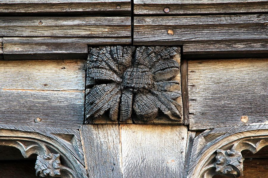 Detail of carved beams of the outer gallery of the library of the Chapter (library canons) of the Cathedral of Noyon (Oise, France).