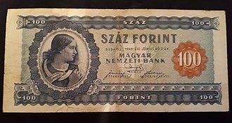 Banknotes of the Hungarian forint - Image: 100 forint 1946
