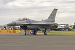 13th Fighter Squadron Lockheed F-16C Block 50D Fighting Falcon (91-0382) on display at Avalon for a display at the 2015 Australian International Airshow.jpg