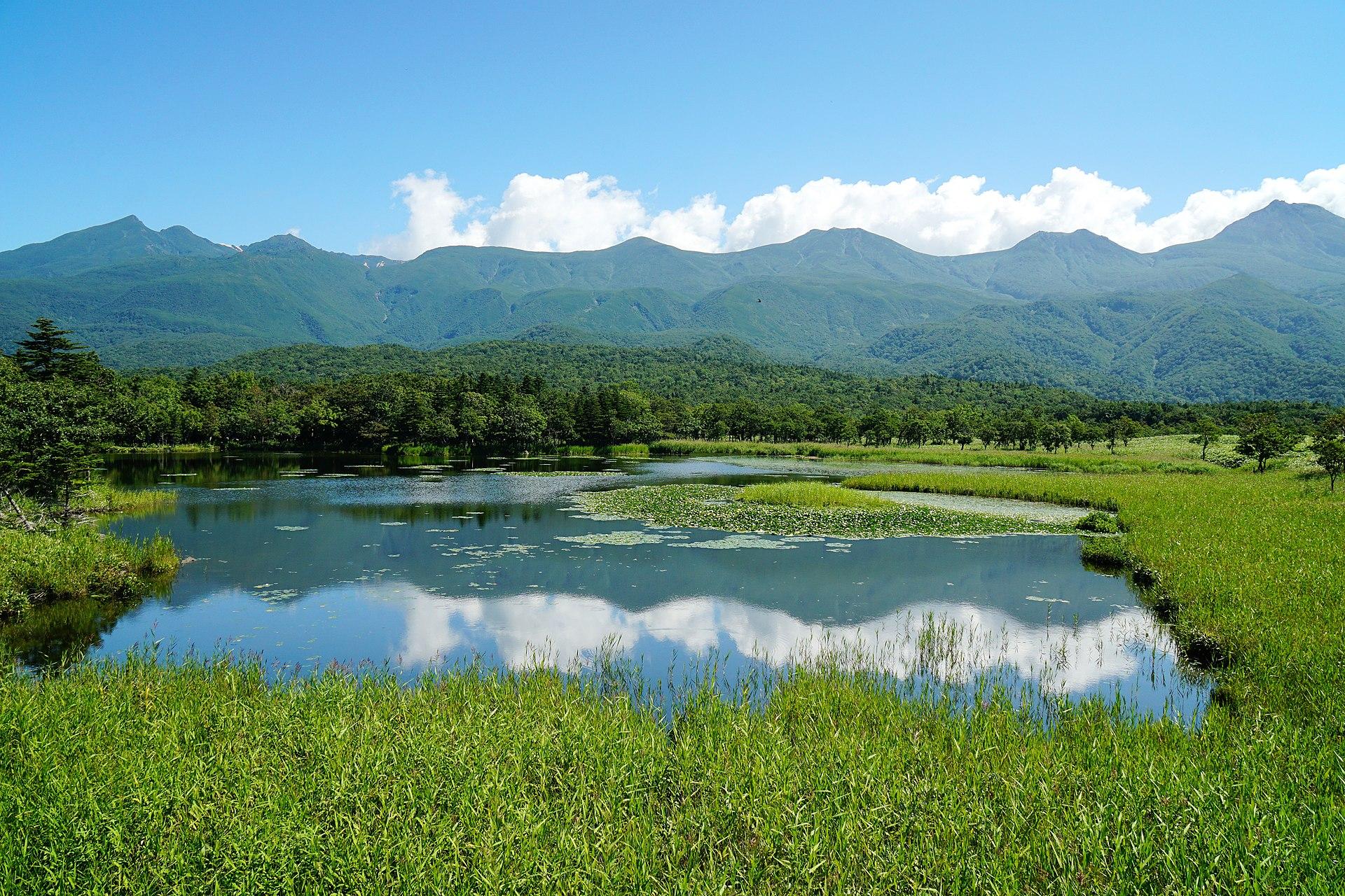 知床五湖一湖と知床連山(2014年8月)