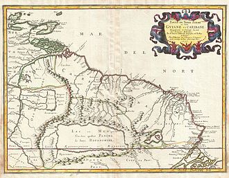 """Lake Parime - Nicolas Sanson's 1656 map showing the """"lake or sea called by the Caribes, Parime, by the Iaoyi, Roponowini."""" Manoa or El Dorado is located on the northwest corner of the lake. To the north is Lake Cassipa."""