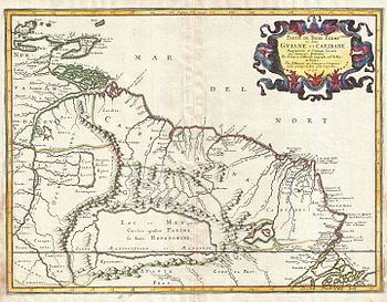 1656 Sanson Map of Guiana, Venezuela, and El D...