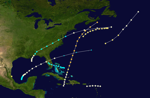 1859 Atlantic hurricane season - Image: 1859 Atlantic hurricane season summary map