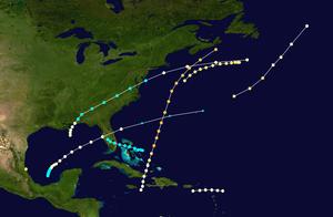 1859 Atlantic hurricane season - Image: 1859 Atlantic hurricane season summary map