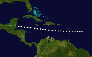 1864 Atlantic hurricane season - Image: 1864 Atlantic hurricane 3 track