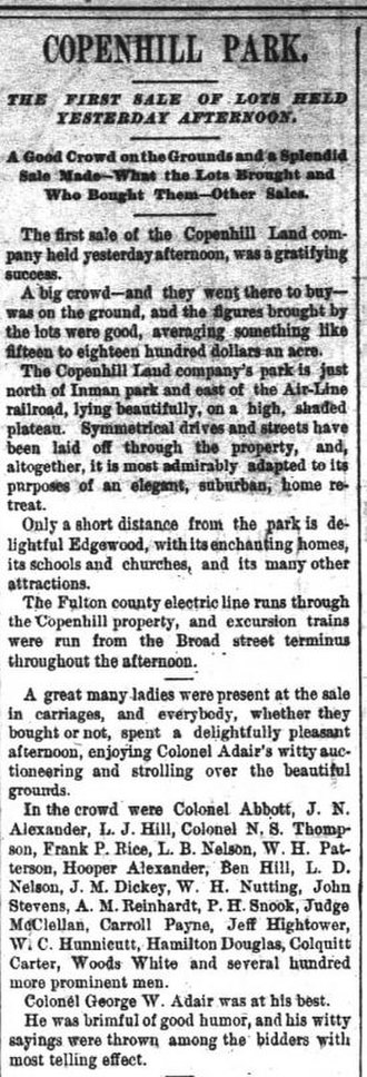 Copenhill - Article about first sale of lots, 1890