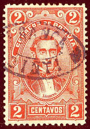 José María Linares - Stamp of Bolivia issued in 1897 with his portrait.