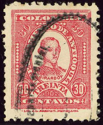 Atanasio Girardot - Portrait on a Department of Antioquia stamp of 1902.