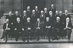 Thomas Ekins Fuller - Fuller is visible on the far-right of the front row. He attended the 1902 Colonial Conference as Agent-General for the Cape.