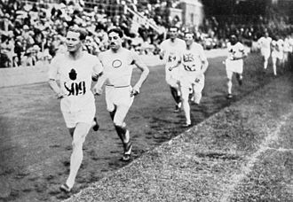 Athletics at the 1912 Summer Olympics – Men's 5000 metres - The upcoming winner Hannes Kolehmainen in the lead with Jean Bouin behind.