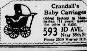 Jesse Armour Crandall - 1916 advertisement for Crandall's Baby Carriages