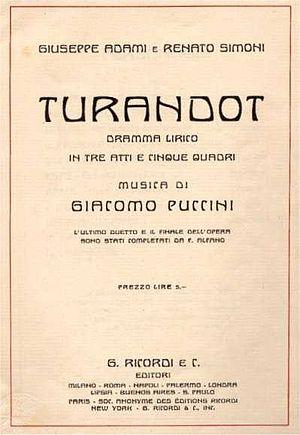 Turandot - Libretto, 1926
