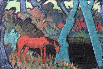 Otto Mueller - Otto Mueller, 1928 : 'Gypsy horse at black water'; current location: Germanisches Nationalmuseum