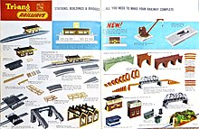 1963 Tri-ang Railways catalogue - the year the red and yellow station buildings (see photo below) were replaced. In 1962 the R.60 Ticket Office had cost 8/3 ...