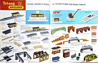 Lines Bros - 1963 Tri-ang Railways catalogue - the year the red and yellow station buildings (see photo below) were replaced. In 1962 the R.60 Ticket Office had cost 8/3 (£7.81 at 2014 values).