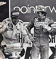 1982 South African Grand Prix, Reutemann Prost podium.jpg