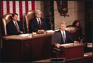 1995 State of the Union Address - President Bill Clinton delivering the State of the Union Address with Vice President Al Gore and Speaker of the House Newt Gingrich sitting behind him