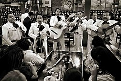 Mariachis playing at the Tenampa in Mexico City