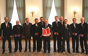 Poland national speedway team - National speedway team with the President of Poland, Lech Kaczyński