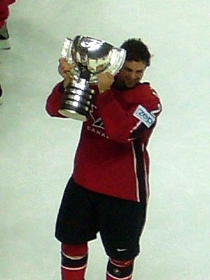 Dan Hamhuis - Hamhuis with the IIHF World Championship trophy in 2007