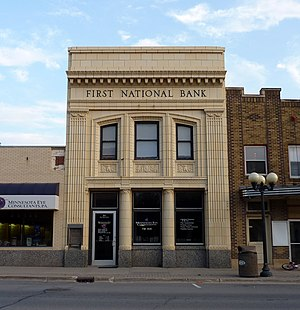 New Prague, Minnesota - The First National Bank building (1922) has an intricate glazed terra cotta exterior and is listed on the NRHP.
