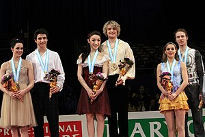 2009–10 Grand Prix of Figure Skating Final - The ice dancing podium for the 2009–10 Grand Prix Final.
