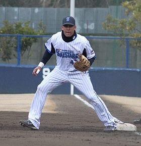 20120304 Oscar Salazar, infielder of the Yokohama BayStars, at BayStars Stadium.JPG