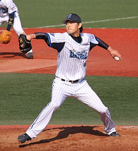 20120401 Wang Yizheng, pitcher of the Yokohama DeNA BayStars, at Yokosuka Stadium.JPG