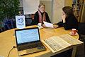 2015-02-10 Gi-Maria Koebberling und Sigrid Kluge, Gesellschaft für Denkmalpflege in Niedersachsen, im Wikipedia-Büro Hannover.jpg