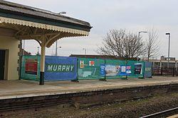 2015 at Chippenham station - demolishing footbridge 1.JPG