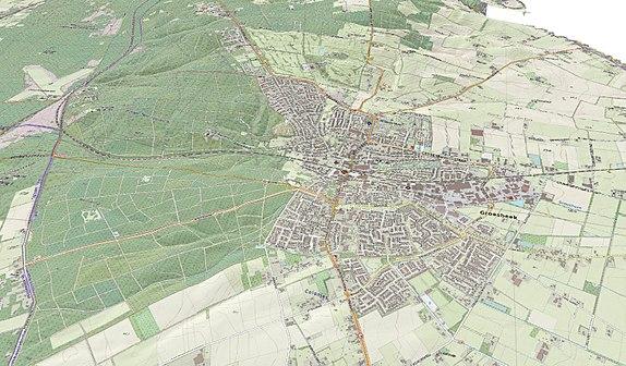 Topografische 3-D kaart van Groesbeek