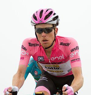 Steven Kruijswijk - Kruijswijk, wearing the maglia rosa of general classification leader, at the 2016 Giro d'Italia
