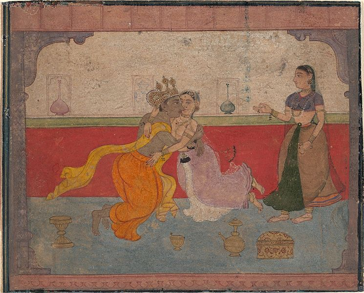 File:2 Krishna Kisses Radha Page from the Boston Rasikapriya Amber 1610 Metmuseum.jpg