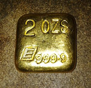 Engelhard - An Engelhard poured 2oz 99.99% pure gold bar