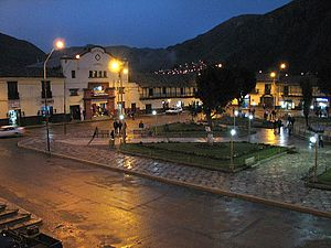 Huancavelica - Plaza de armas of Huancavelica at night.